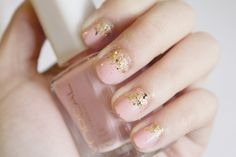 cute pink gold glitter nails