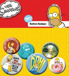 Pack de 6 Badges SIMPSON - Homer - http://rockagogo.com