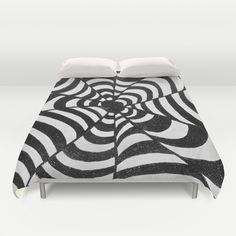 Op Art Black & White optical illusion psychedelic Duvet Cover by original art by micki - $99.00