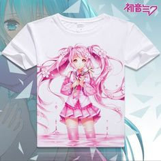 2016 women tshirt digital printed hot anime Hatsune Miku cosplay t shirt short-sleeve Hatsune Miku T-shirt women t shirt