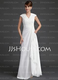 A-Line/Princess V-neck Floor-Length Chiffon Mother of the Bride Dress With Ruffle (008006565)