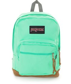 Let your colors shine with this Right Pack seafoam green backpack from Jansport. A minty seafoam green colorway has a large 31 liter compartment with two smaller front pouch pockets to keep your smaller, personal stuff organized and in it's proper spot.