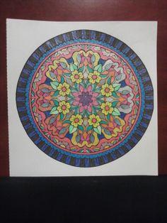 """Nature Mandala"" from Mandalas Infinite Coloring Book & CD, Dover Pub. Gel pens, metallic & glitter, ADH 2012"
