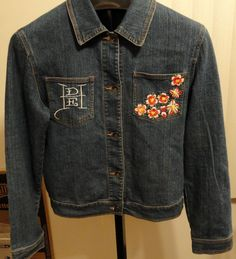 Ed Hardy Blue Denim Jean Jacket Jr XXXL Button Front Embroidered Flowers/Skull #EdHardy #JeanJacket