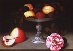 stilllifequickheart: Fede Galizia Still Life with Plums, Pears and Rose 1602 whereabouts unknown Dutch Still Life, Still Life Art, Gala Themes, Italian Baroque, Dutch Golden Age, Roman Art, Italian Painters, Italian Renaissance, Learn To Paint