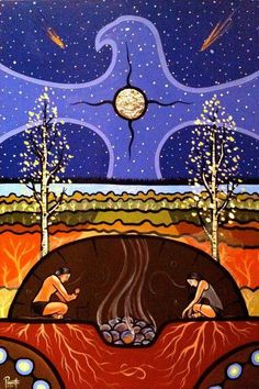 """When the Masculine and the Feminine work together harmoniously, Miracles happen. Now is the time for Us to bow to each other, to share our Gifts with each other and to Work for the Upliftment of the Human Race.    Shannon Port l Artwork: """"Teachings of the Sweat Lodge"""" by Aaron Paquette"""