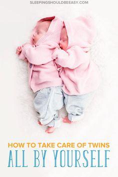 Common advice for twin moms is to get help, but what do you do when you don't have family and friends nearby? Here's how to take care of twins alone. #twins #TwinMom