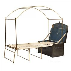 Handy canopy frame for mosquito netting! Thompson Trunk Bed from Raynham Hall. Folding Furniture, Antique Furniture, Wood Furniture, Furniture Design, Multifunctional Furniture, Tent Camping Beds, Glamping, Campaign Furniture, Vintage Luggage