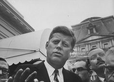 President-Elect John F. Kennedy, talking to press after calling on former President Ike Eisenhower, at the White House.