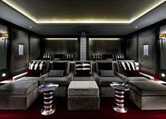 Home Theater Design is one of the most thing nowadays. We always looking for Home Theater ideas. Home Teater room design is the best choice. Home Theater Room Design, Home Cinema Room, Best Home Theater, At Home Movie Theater, Home Theater Rooms, Home Theater Seating, Sala Grande, Architecture Awards, Media Rooms