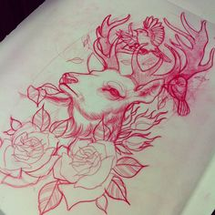 Deer & roses - holy shit, this is what I want but with 3 little birdies for my babies and the deer is for my hubby!