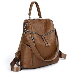 80c4ee02c7c8 UTO Women Backpack Purse PU Washed Leather 3 Ways Ladies Rucksack Zipper  Shoulder Bag A Brown Backpack Purses