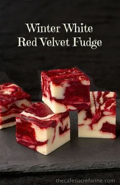 """Winter White Red Velvet Fudge """" Ingredients: 3 cups sugar ¾ cup butter ⅔ cup half & half 1 12-ounce bag white chocolate chips 1 7-ounce jar marshmallow creme 1 teaspoon vanilla 1 cup semi-sweet..."""