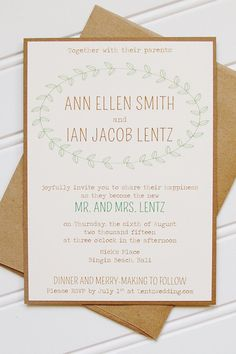 Laurel Wedding Invitations: Simple Affordable by AnnaLouAvenue