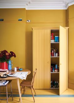New bathroom yellow walls farrow ball Ideas Farrow Ball, Farmhouse Side Table, Yellow Bathrooms, Cute Dorm Rooms, Yellow Walls, Painting Kitchen Cabinets, Living Room Designs, Room Decor, Interior Design