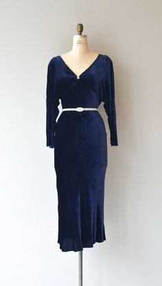 Vintage 1930s deep royal purple silk velvet dress with wide V neckline with rhinestone detail, long sleeves split from the shoulders to elbow, bias