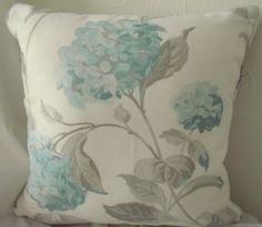 Laura Ashley Hydrangea duck egg & Gingham cushion - From Cushions To Curtains