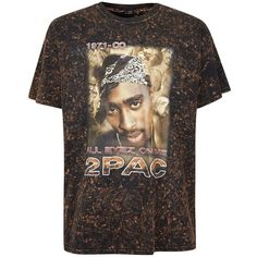 86fca1b37 Topman Finds Black Bleached 2Pac T-Shirt ($22) ❤ liked on Polyvore featuring