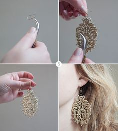 DIY - LACE EARRINGS - via greenweddingshoes (DIY tutorial by Jen of Something Turquoise created exclusively for GWS; photography by Studio 11 Weddings)