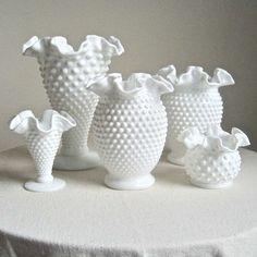 Early Fenton Hobnail Milk Glass Vase medium by BarkingSandsVintage
