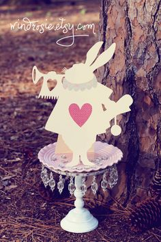 Alice In Wonderland - The White Rabbit  Silhoette Cut Out in Ivory- Shabby Chic