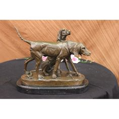ON SALE !!! Signed Vintage Hunting Dogs Bronze Sculpture...Splendid Pair Of Hunting Dogs Bronze Sculpture: Features A Fine Group Of Alert Pointers Was Originally Cast Circa 1890. Our Casting Was Made Using The Finest Pure Bronze In The Hands Of The Experienced Artisans Working In Our Art Foundry In Europe. Beautifully Detailed And Features A Deep, Rich Patina Finish Fused Into The Bronze Itself So That It Will Endure For Hundreds Of Years. The Piece Is Mounted Onto A Marble Base, Stands 10.5…