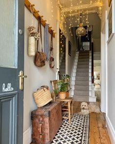 How deadly is that vinyl tile rug by in hallway? All the look of tiles without the commitment 😍😍😍 Hallway Decorating, Entryway Decor, Interior Decorating, Interior Design, Edwardian Hallway, Edwardian House, Victorian Terrace, Victorian House Interiors, Flur Design