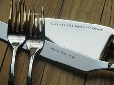 4 piece Wedding cake serving set - server, knife and forks - personalized and hand stamped for the bride and groom by tinylovetreasures on Etsy https://www.etsy.com/listing/204367840/4-piece-wedding-cake-serving-set-server