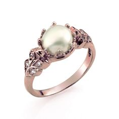 Engagement Ring, Vintage Style Engagement Ring, Pearl Diamond Ring, Rose Gold Ring, Engagement Rings, Pearl Engagement Ring, Pearl Jewelry by netawolpe on Etsy https://www.etsy.com/nz/listing/194704891/engagement-ring-vintage-style-engagement