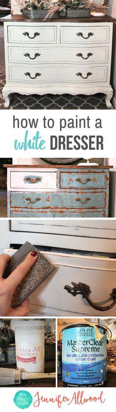Painted White Dresser | How to paint white distressed farmhouse furniture | Magic Brush | Furniture Makeover Ideas | How to paint white furniture | Get a farmhouse stye