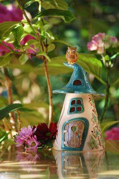 "Ceramic lantern ""Elfenhäuschen"" with owl Clay Houses, Ceramic Houses, Ceramic Clay, Clay Fairy House, Fairy Houses, Ceramics Projects, Clay Projects, Paper Clay, Clay Art"