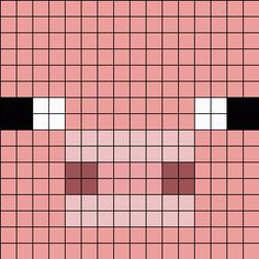Minecraft Pig Face 16x16 Perler Bead Pattern / Bead Sprite