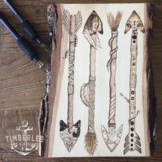 Native American arrow art. Designed and burned by ourselves into a Basswood…