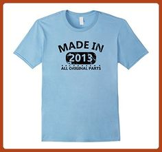 Mens 4th Birthday Made 2013 Vintage Funny T-shirt Gift Quote Tee XL Baby Blue - Birthday shirts (*Partner-Link)