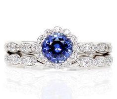 Palladium  Blue Sapphire Engagement Ring Wedding Set Diamond Halo Sapphire Ring Custom Bridal Set on Etsy, $1,680.00
