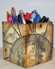 Pencil case - decoupage   Flickr - Photo Sharing!