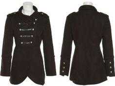 15DOLLARSTORE.COM - LAST KISS Double Breasted Felt Military Coat W/ Pockets