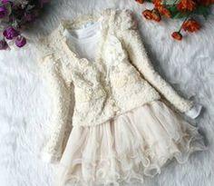Ivory Dress for Toddler Girls with Matching Jacket Ivory Tutu Dress