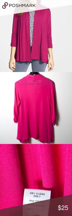 NWT MOD.lusive by Bobea Ruched Sleeve Cardigan Sm New with tags MOD.lusive by Bobea cardigan. Size small in fuchsia pink. Elastic rushing at the cuffs lends a casually pushed up look to the sleeves of this super soft jersey cardigan with relaxed, drop shoulder styling. Three-quarter sleeves no closure - open front. bobeau Sweaters Cardigans