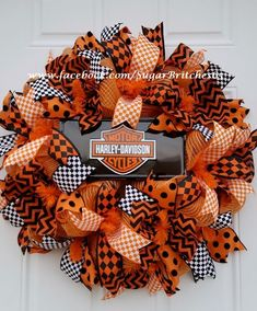Harley Davidson Orange and Black Deco Mesh by SugarBritches65