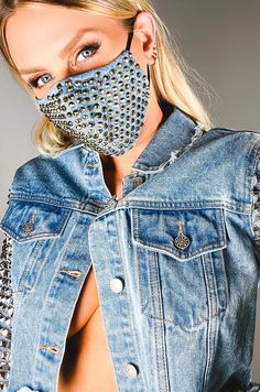 Diy Mask, Diy Face Mask, Face Masks, Tapas, Grunge, Fashion Face Mask, Denim Fabric, Cute Faces, Looks Style