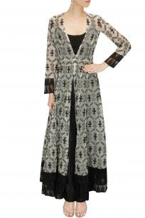 Black and white brocade anarkali kurta with pants