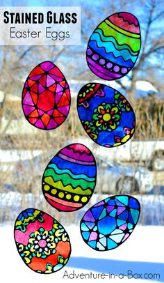 Make stained glass Easter egg suncatchers with kids! This craft comes with four free printable Easter egg designs and makes for a quick and easy way to decorate windows for Easter. glass crafts for kids Stained Glass Easter Egg Suncatchers Easter Eggs Kids, Easter Crafts For Toddlers, Easter Art, Easter Projects, Easter Crafts For Kids, Crafts To Do, Easter Decor, Easter Ideas For Kids, At Home Crafts For Kids