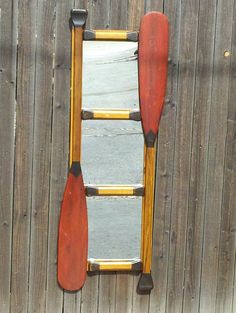 Reclaimed Furniture, canoe paddle mirror Woodland Bedroom, Wooden Canoe, Reclaimed Furniture, Jethro, Shabby Cottage, Cabin Ideas, Bedroom Inspiration, Log Homes, Basement Ideas