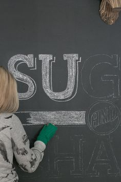 To transfer type and logos to chalkboards, print it out on paper then scribble the back with chalk, tape paper to chalkboard, and trace the design with a pencil. The chalk that you scribbled on the back will create an outline of it all.