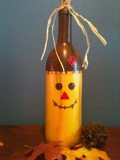 Wine Bottle Decorating Idea - Scarecrow