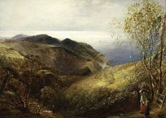 Samuel+Palmer - Your Paintings - View of Lee, North Devon Impressionist Landscape, Landscape Art, Landscape Paintings, Your Paintings, Beautiful Paintings, Around The World In 80 Days, North Devon, English Artists, England