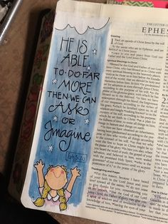 """Eph 3:20 """"More than we can ask or imagine"""" - one of my favorites - Bible Journaling by Nola Pierce Chandler"""