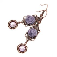 Lavender Rose Earrings-- :) These Roses sit on antiqued copper filigree with light rose Swarovski Crystals. These measure approx 1 1/2 inches long and approx 1/2 an inch wide.
