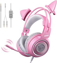 SOMIC Purple Stereo Gaming Headset with Mic for Xbox One, PC, Phone, Detachable Cat Ear Noise Reduction Headphones Lightweight Computer Gaming Headphone Self-Adjusting Gamer Headsets Headphones For Ps4, Monster Headphones, Pink Headphones, Headphone With Mic, Noise Cancelling Headphones, Wireless Earbuds, Bluetooth, Gaming Headset, Cat Ear Headset